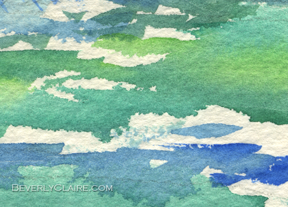 "Detail screenshot of ""River in the Morning"" watercolor painting by Beverly Claire Kaiya"