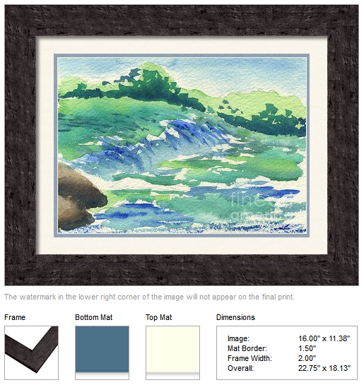 "Framing idea for ""River in the Morning"" watercolor painting's enlarged art print version."