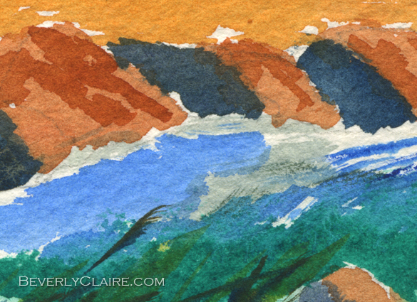 "Detail screenshot of ""River at Sunset"" watercolor painting"