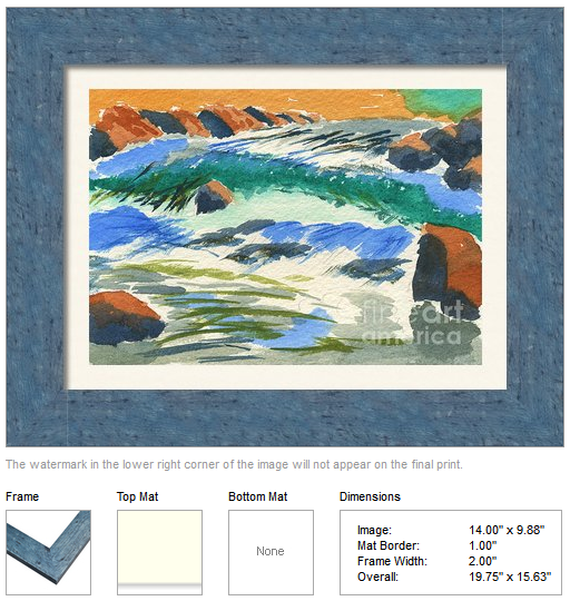 "Framing idea for ""River at Sunset"" watercolor painting's enlarged art print version."