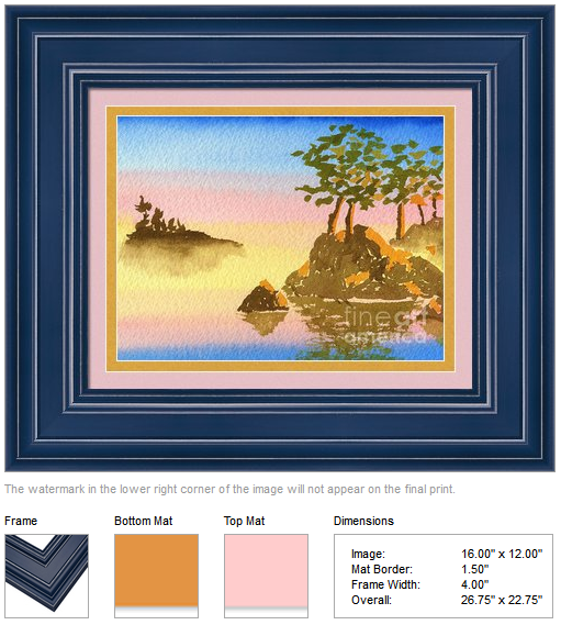 "Framing idea for ""Summer into Fall"" watercolor painting's enlarged art print version by Beverly Claire Kaiya"