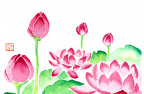 Red Waterlilies Watercolor Painting