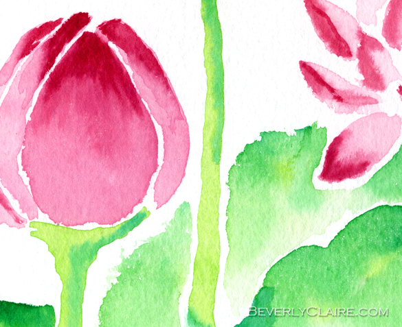 "Detail screenshot of ""Red Waterlilies Watercolor Painting"" watercolor painting"