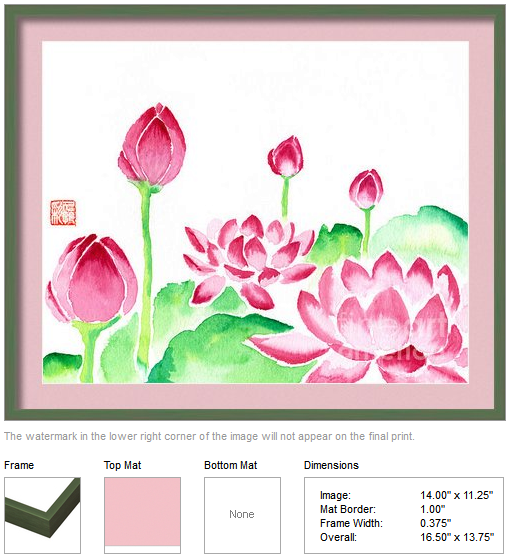 "Framing idea for ""Red Waterlilies Watercolor Painting"" watercolor painting's enlarged art print version."