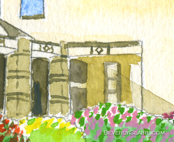 "Detail screenshot of ""Yokohama Museum of Art in Autumn"" watercolor painting"
