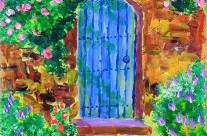 Blue Wooden Door to Secret Rose Garden Painting