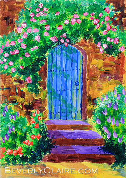 Blue Wooden Door To Secret Rose Garden