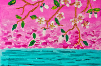 Cherry Blossoms Branch with Water Ripples Acrylic Painting