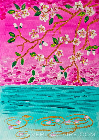 """Cherry Blossoms Branch with Water Ripples"", acrylic on canvas board painting by Beverly Claire Kaiya. <em>Note:</em> The watermark in the preview above will not appear on the original work."