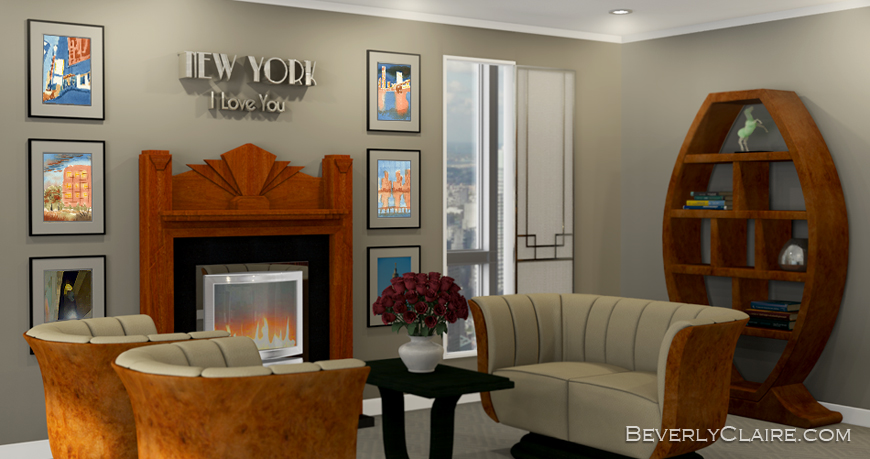 3D rendering of Art Deco room with Urban-themed paintings by Beverly Claire Kaiya