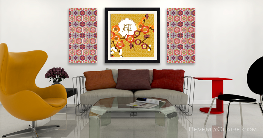 3D rendering of a contemporary room with my illustrations as wall decor