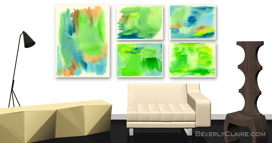 3D Visualization of Contemporary Living Room with Original Paintings by Beverly Claire Kaiya
