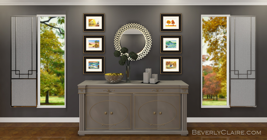 3D rendering of Gray Neoclassical Room by Beverly Claire Kaiya