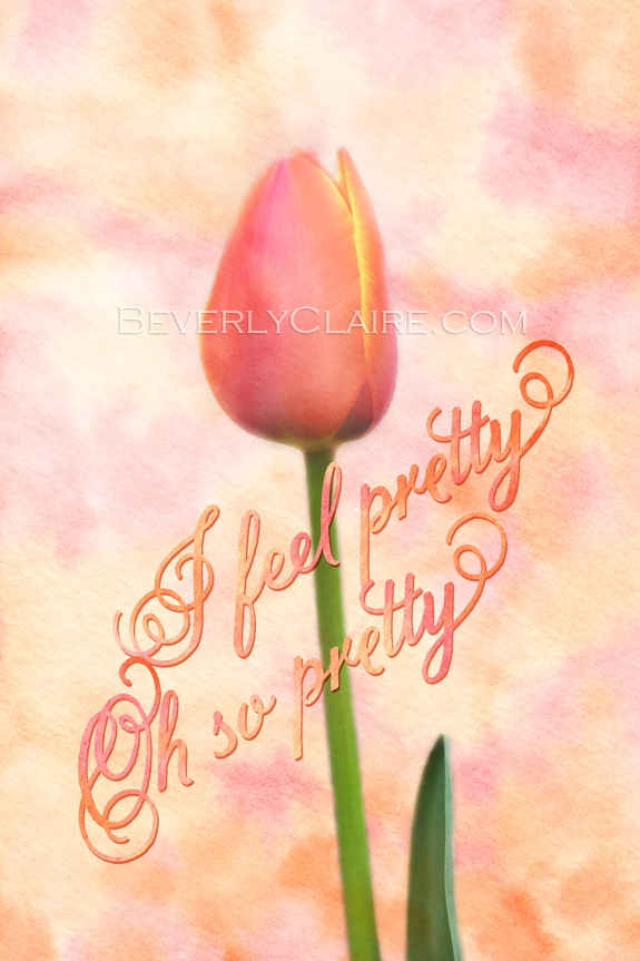 I Feel Pretty Oh So Pretty Orange Tulip with Watercolor Background by Beverly Claire Fine Art
