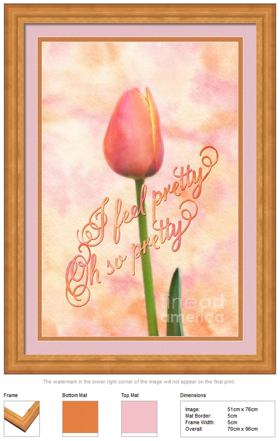 I Feel Pretty Oh So Pretty Orange Tulip Watercolor Background