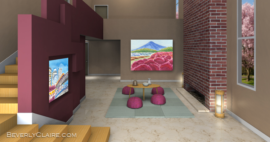 3D Rendering of Room with Japanese-style Elements by Beverly Claire Kaiya