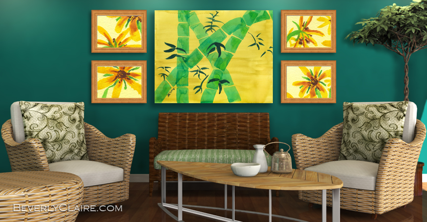 Botanical Paintings in Green Room with Natural Furniture by Beverly Claire Kaiya