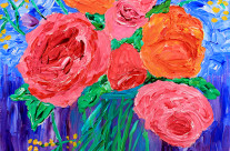 Bouquet of English Roses in Mason Jar Painting