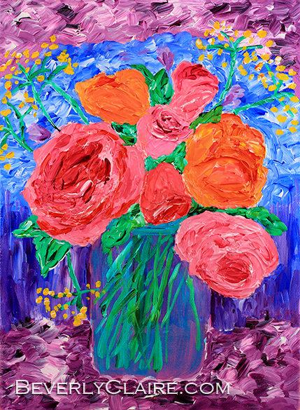 Bouquet of English Roses in Mason Jar Painting on beverlyclaire.com