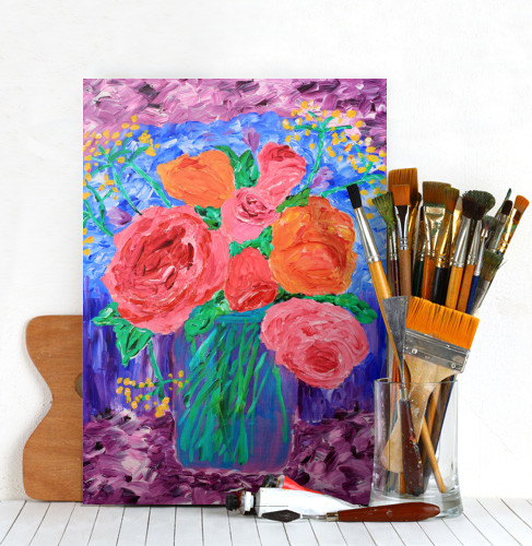 Metal Print of Bouquet of English Roses in Mason Jar Painting on Displate