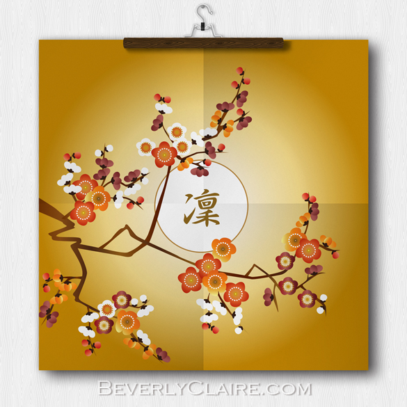 Japanese Plum Blossoms Moon Gold Orange Red Branch