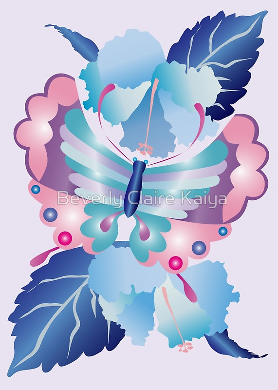 Pretty Purple Turquoise Butterfly Blue Winter Hibiscus Flowers by Beverly Claire Fine Art