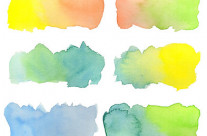 Hand-Painted Watercolor Colorful Gradation Rainbow Labels