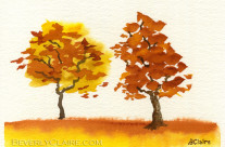 Chatting Autumn Trees Watercolor Painting