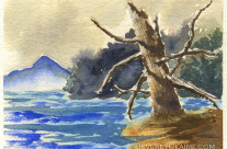 Dead Tree by the Lake Watercolor Painting