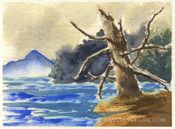 Dead Tree by the Lake watercolor painting by Beverly Claire Kaiya