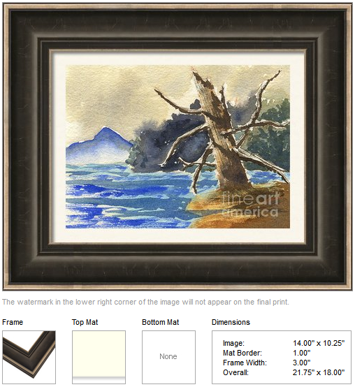 "Framing idea for ""Dead Tree by the Lake"" watercolor painting's enlarged art print version by Beverly Claire Kaiya"