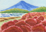 Kochia Bushes with Mt Fuji Watercolor Painting