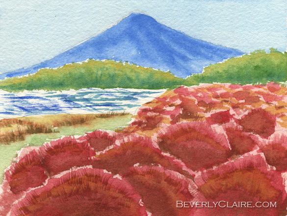 Kochia Bushes with Mt Fuji in the Background watercolor painting by Beverly Claire Kaiya
