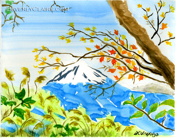 Mt Fuji from Koyodai in Autumn watercolor painting by Beverly Claire Kaiya