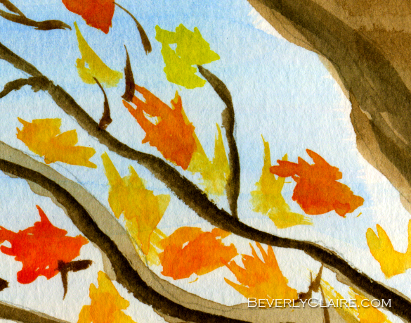 Detail of Mt Fuji from Koyodai in Autumn watercolor painting by Beverly Claire Kaiya