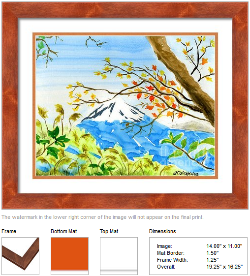 "Framing idea for ""Mt Fuji from Koyodai in Autumn"" watercolor painting's enlarged art print version by Beverly Claire Kaiya"