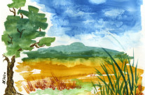 Field in Early Autumn Watercolor Painting