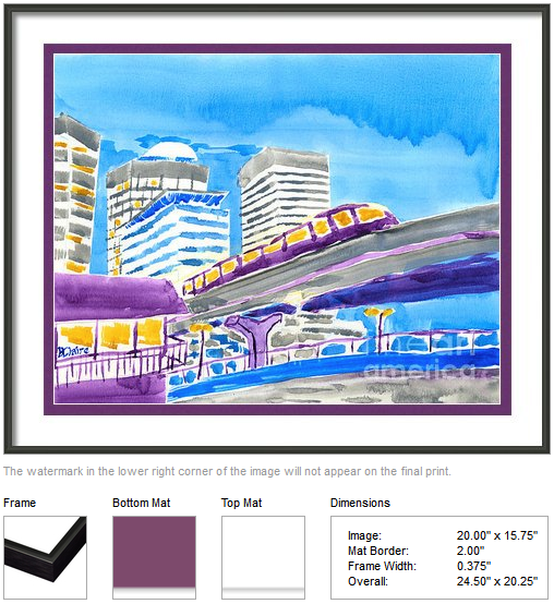 "Framing idea for ""Train Through Tokyo City"" watercolor painting's enlarged art print version by Beverly Claire Kaiya"