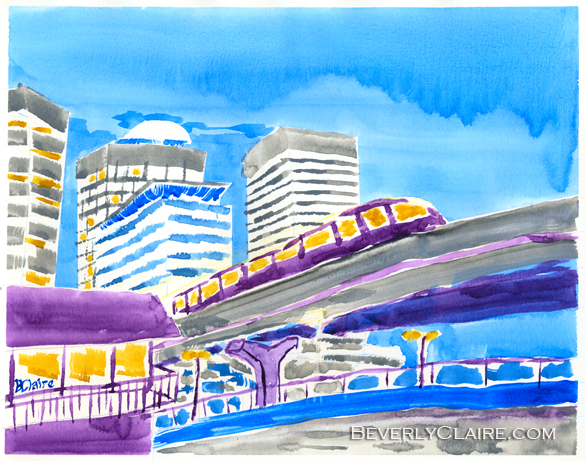 Train Through Tokyo City watercolor painting by Beverly Claire Kaiya