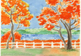Autumn Trees Framing a Lake Watercolor Painting
