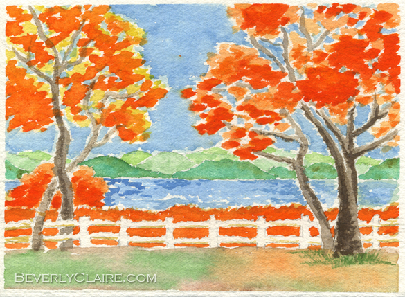Autumn Trees Framing a Lake by Beverly Claire Kaiya