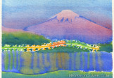 Lake Kawaguchi & Mt Fuji at Night Watercolor Painting
