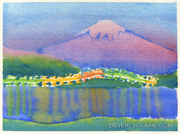 Yamanaka Lake and Mt Fuji at Night watercolor sketch by Beverly Claire Kaiya