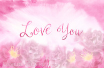 Love You Dark Pink Roses with Watercolor Background