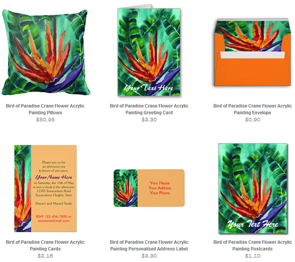 Bird of Paradise Crane Flower Acrylic Painting Novelty Goods