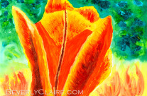 Bright Yellow Orange Tulip Acrylic Painting