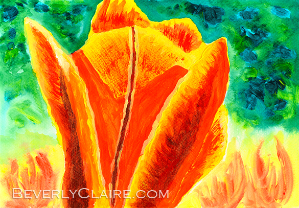 """Bright Yellow Orange Tulip"", acrylic on canvas board painting by Beverly Claire Kaiya. <em>Note:</em> The watermark in the preview above will not appear on the original work."
