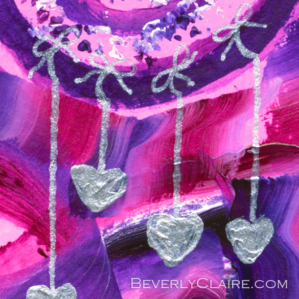 "Detail screenshot of ""Purple Tree with Little Silver Hearts"" acrylic painting"
