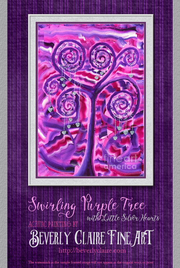 "Framing idea for ""Purple Tree with Little Silver Hearts"" acrylic painting's enlarged art print version."