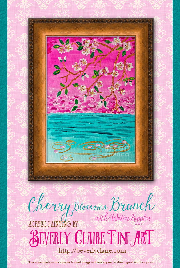 "Framing idea for ""Cherry Blossoms Branch with Water Ripples"" acrylic painting's enlarged art print version."